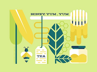 Honey Yum Yum & Tea leaves bee tea honey vectors illustration design iconography icon graphic design