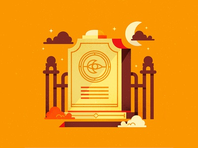 Grave Sent night cemetary grave graveyard spooky horror scary holiday halloween vectors illustration graphic design