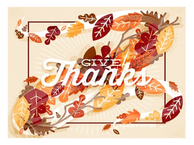 Give Thanks leaves fall autumn thanksgiving happy thanksgiving holiday vectors illustration iconography graphic design