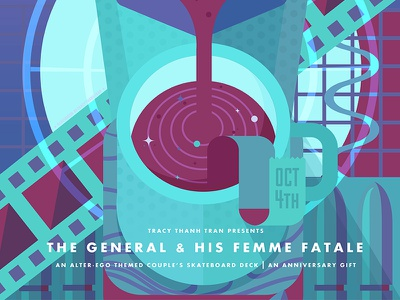 The General & His Femme Fatale scifi technology space vectors design adventure movie coffee deck hobby board skateboard