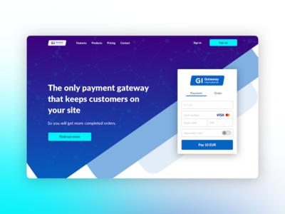 Gateway International tomweb tomas system payment pay white blue cyan gradient customer international gateway