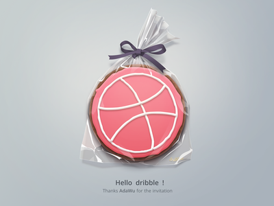 Dribbble Debuts cookie icon hello first invite dribbble draft