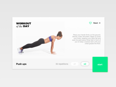 Day 62 Workout of the day white dailyui font pairing design clean ui minimal green fitness exercise of the day workout