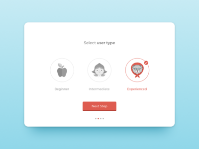 Day 64 Select User Type checkmark select checkbox dailyui ui blue hood riding red type user