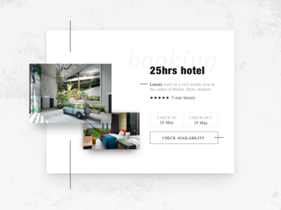 Day 67 Hotel booking check out check in booking hotel black grid off white minimal