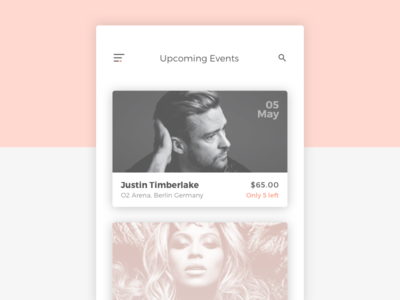 Day 70 Event Listing concert singer grey pink minimal ux ui dailyui card box listing event