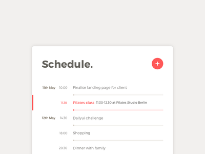 Day 71 Schedule timeline minimal clean list to do calendar agenda schedule ux ui dailyui red