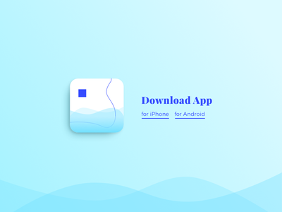 Day 74 Download App wave clean typography shapes geometry icon app download blue minimal
