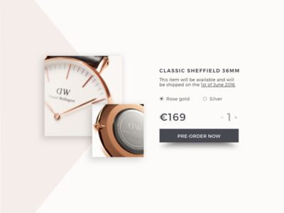 Day 75 Pre Order add to cart detail minimal dailyui watch card cart product order pre preorder pre-order