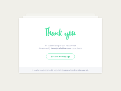 Day 77 Thank you ui ux green white dailyui minimal typography subscribe thank you