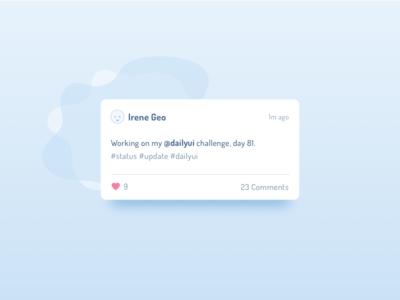 Day 81 Status Update soft blue dailyui minimal like profile ui update status