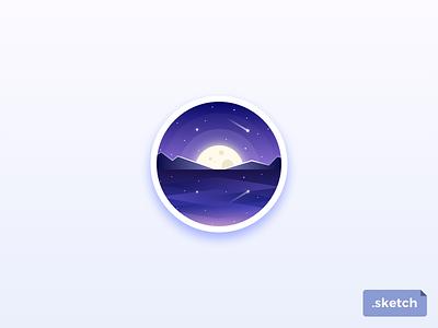 Badge freebie moon mountains space night scenery purple landscape planets stars freebie badge