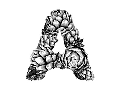 A for Artichoke black and white custom art experimental typography digital lettering