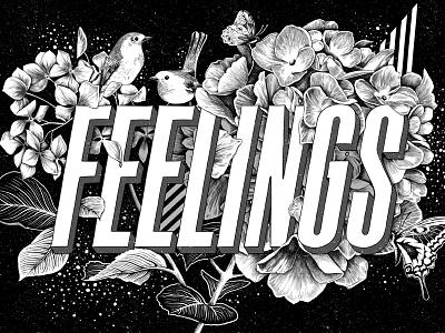 Spring Feelings custom art illustration black and white illustrations prints typography