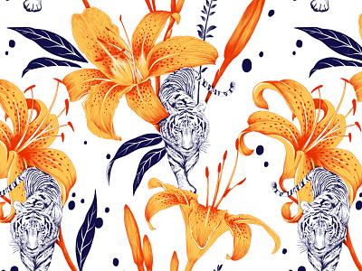 Tigerlily pattern moth print illustration custom art lettering texture botanical illustration pattern