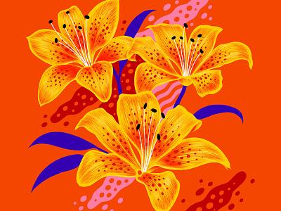 TigerLilies pop graphic art flowers custom art print design digital lettering illustration