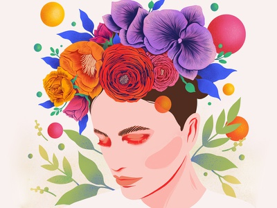 Flower Crown colour whimsical flower crown procreate art procreate custom art print illustration