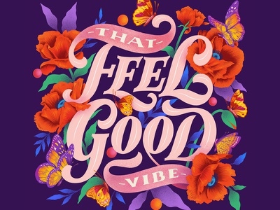 Feel Good Vibe procreateart ipadproart procreate custom art typography digital lettering lettering illustration love instagram