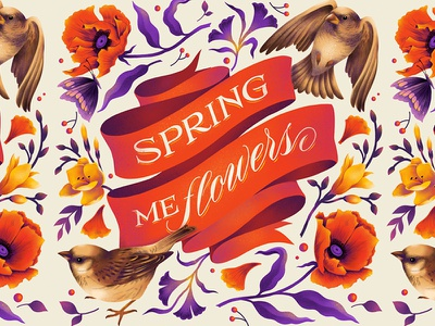 Spring me flowers. spring procreate art flowers procreate lettering digital lettering typography illustration