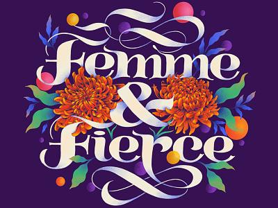 Femme & Fierce womens day procreate lettering digital lettering typography illustration