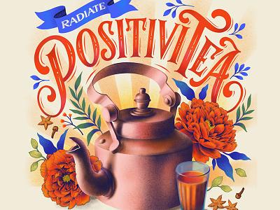 Positivitea instagram design procreate lettering digital lettering typography illustration