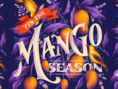 Mango Season mango summer design procreate lettering digital lettering typography custom art illustration