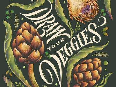 Draw your Veggies healthy green procreate lettering digital lettering custom art typography illustration