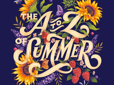 Editorial Illustration summer botanical art botanical nature typography illustration lettering