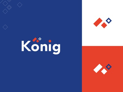 Konig logo logo design branding orange blue signet mark dailylogo logodesigner logodesign logo
