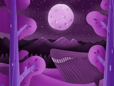 Whale with the moon adonit iphone moon whale purple drawing illustration design illustration procreate