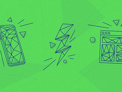 ⚡️ Refreshed icons set dark blue blue green vector illustration vector icon vector icons design icon design icons pack icons set icons icon