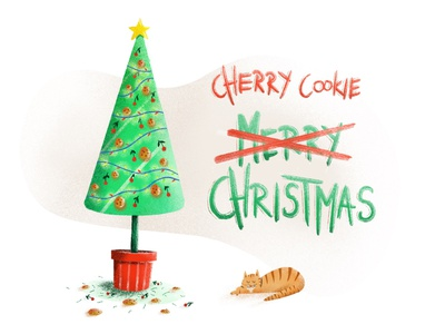 🍒🍪 Cherry Cookie Christmas! merry christmas christmas tree christmas typogaphy letters drawing letters draw letters procreate lettering procreate iphonexsmax iphonexs iphone adonit illustration design illustraion pencil drawing pencil sketch draw drawing