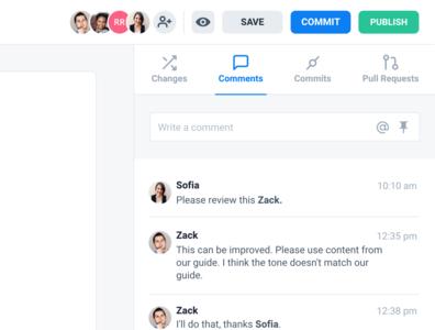 Comments - Interface docs code sample api docs api experience developer design threads comments ux ui