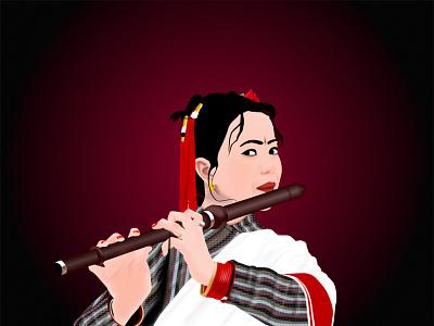 Newari Maicha nepali vector playing flute newari maicha vector newari