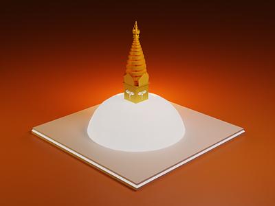 Soyambhunath in 3D vector soyambhu nepal