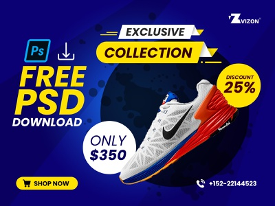 Nike Sneakers Poster Design In Photoshop ad photoshop photoshop tutorial poster poster design ad banner free psd