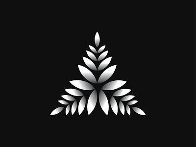 Organic Triangle minimal geometric organic botanical triangle wheat rice leaves leaf a