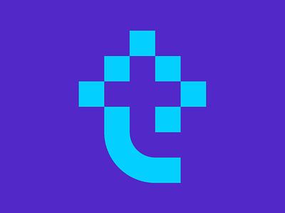Trippy logo geometric minimal pixel logo t