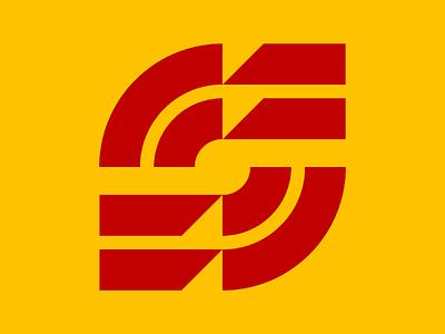 S logo Exploration red yellow negative space round geometric minimal logo s