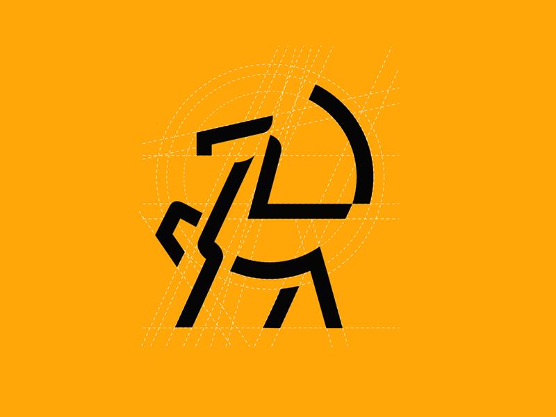 Colt (male baby horse) logo grid simple monoline minimal black animal yellow horse logo colt