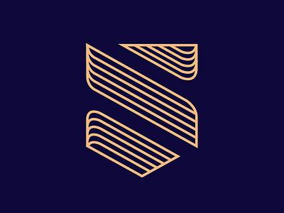S + Shield Logo logomark gold blue minimal shield logo s