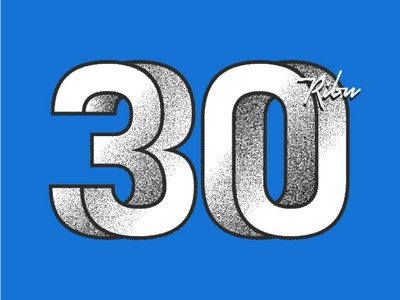 30k followers on Instagram grain number illusion mind trick typography logo 30 30k