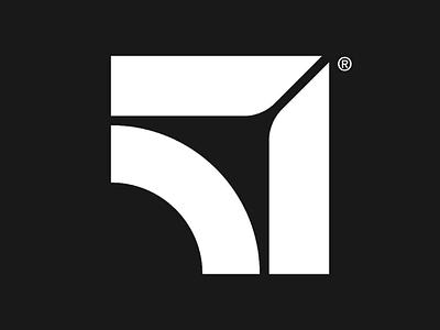 51 logo swiss design black monogram logotype 51 logo minimal