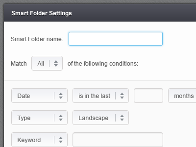 Smart Folder smart folder ui dropdown input