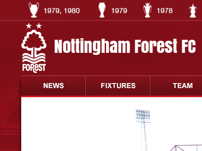Nffc red football navigation menu nottingham forest