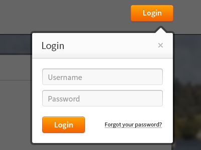 Site Login Dropdown login form orange button username password source sans pro dropdown overlay