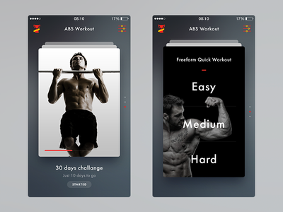 Fitness App abs app fitness flat ios iphone sport training ui ux workout