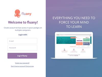 Fluany - Login login screen welcome fluany login