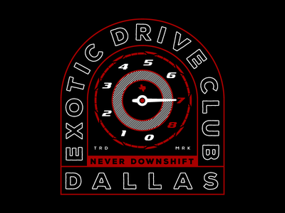 Exotic Drive Club - Tshirt Concept 2 illustration dallas car club car speedometer tachometer
