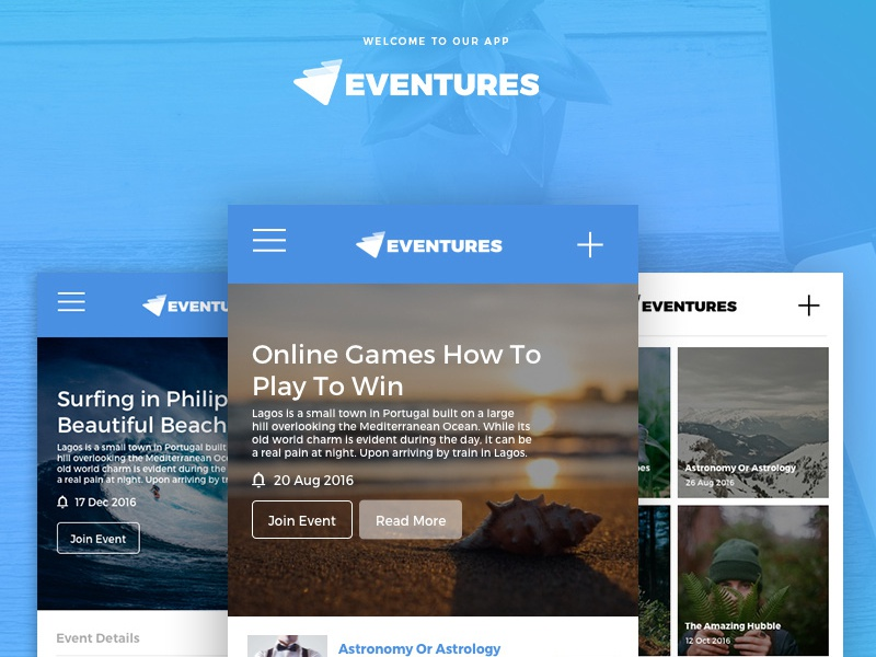 Eventures App for Creating Events ux events app mobile